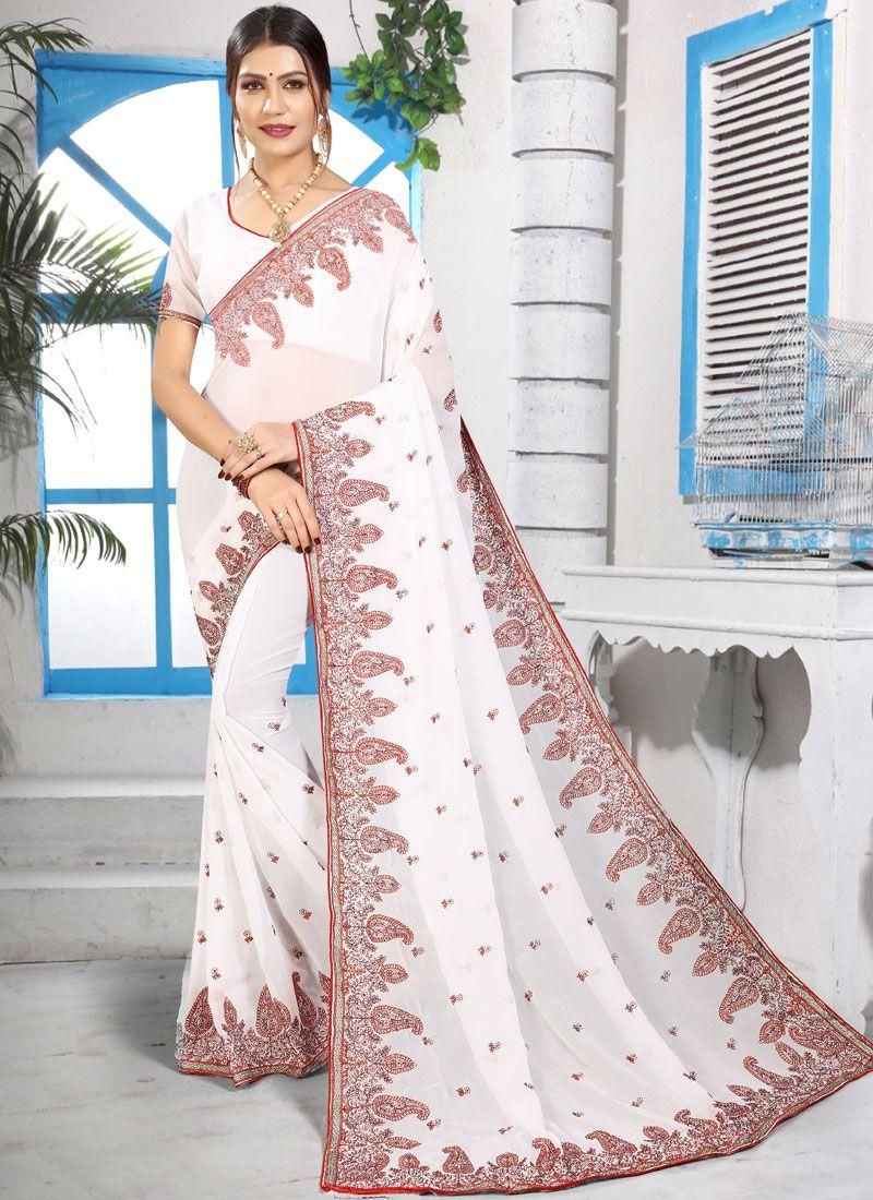 Georgette White Embroidered Designer Saree