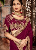 Georgette Wine Designer Saree