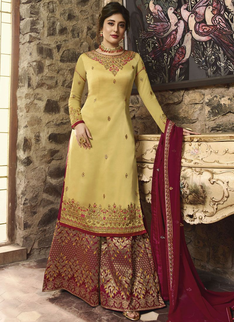 Georgette Yellow Embroidered Designer Palazzo Salwar Suit