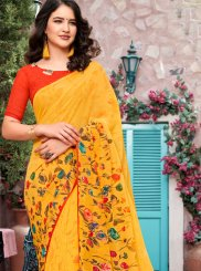 Georgette Yellow Printed Trendy Saree