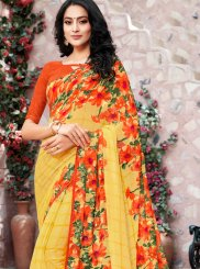 Georgette Yellow Trendy Saree