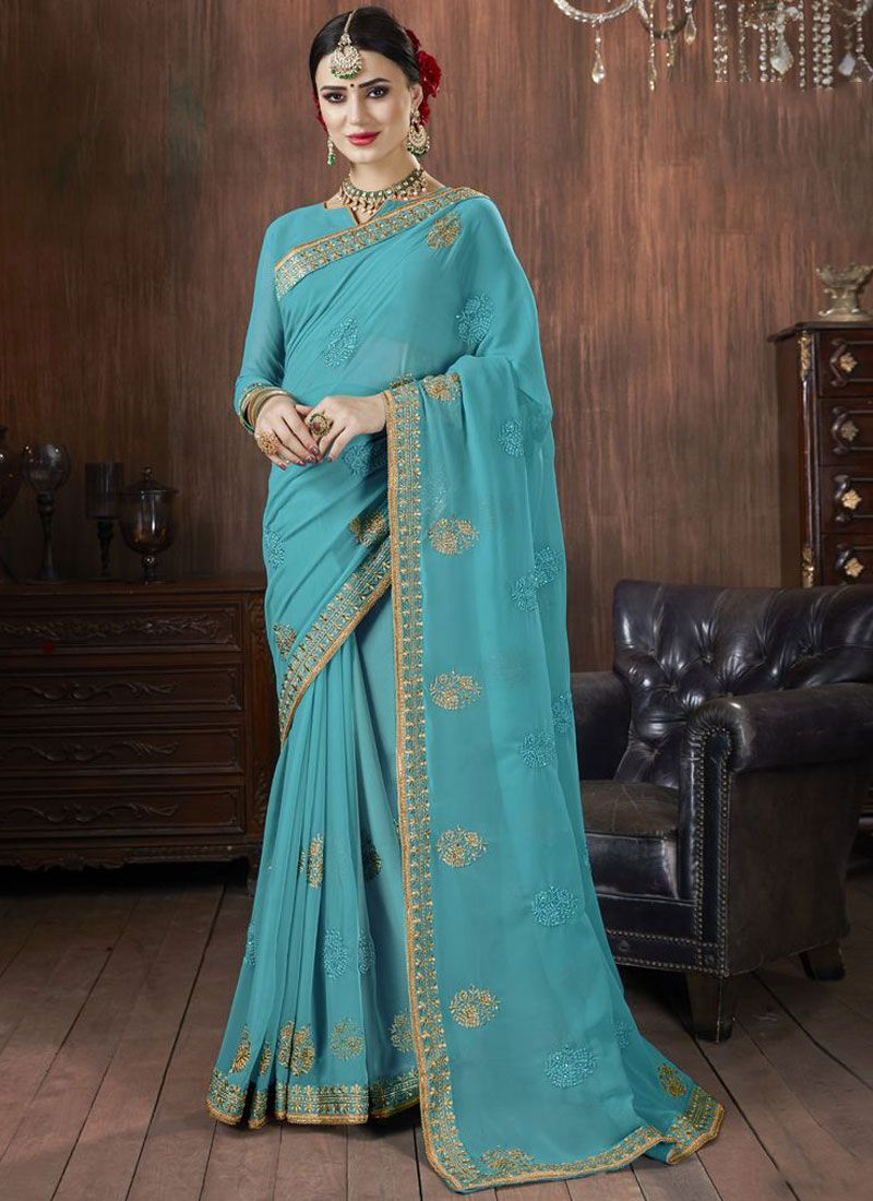 Georgette Zari Blue Trendy Saree