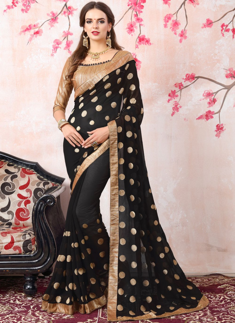 Georgette Zari Work Bollywood Saree