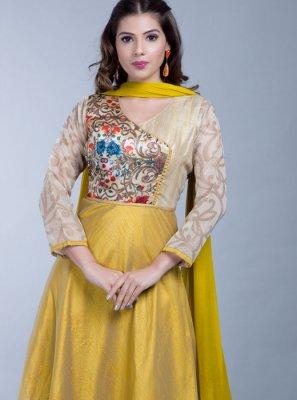 Gold Anarkali Salwar Suit
