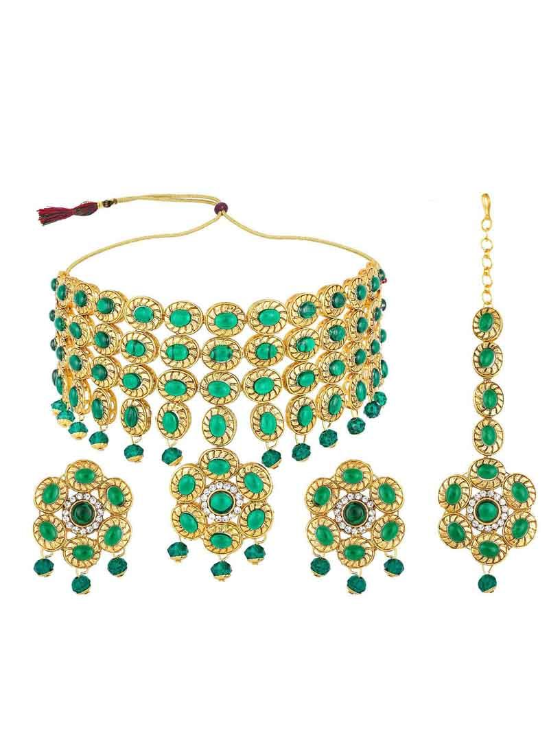 Gold and Green Ceremonial Necklace Set