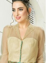 Gold and Green Reception Trendy Anarkali Suit