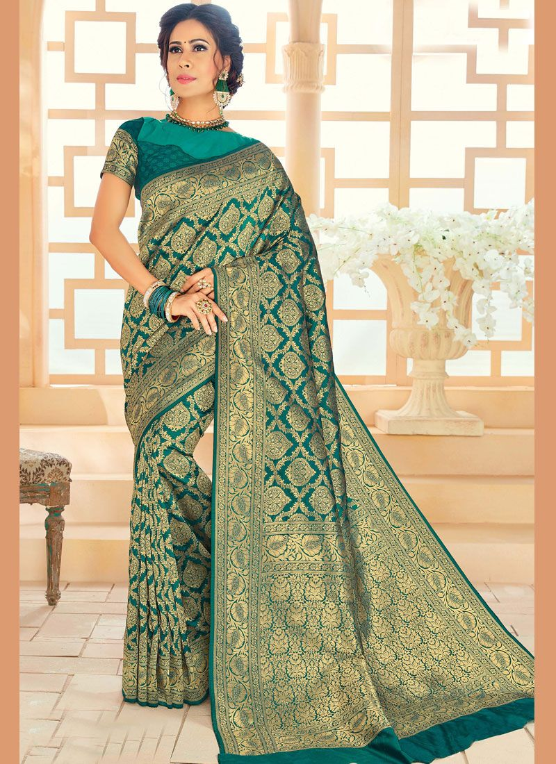 Gold and Green Woven Classic Saree