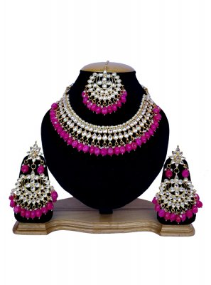 Gold and Magenta Stone Work Necklace Set