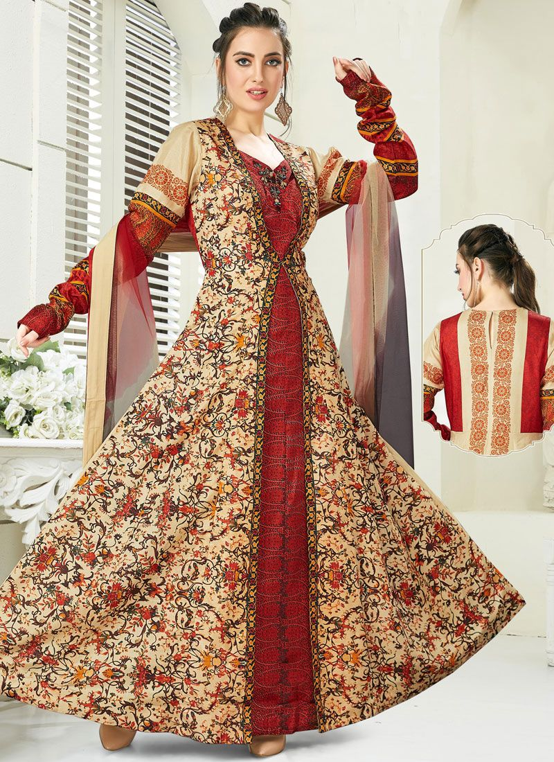 Maroon Color Anarkali Salwar Suit