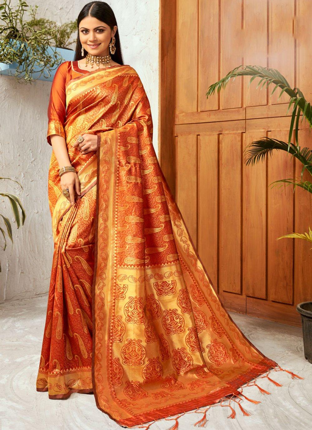 Gold and Orange Weaving Classic Saree