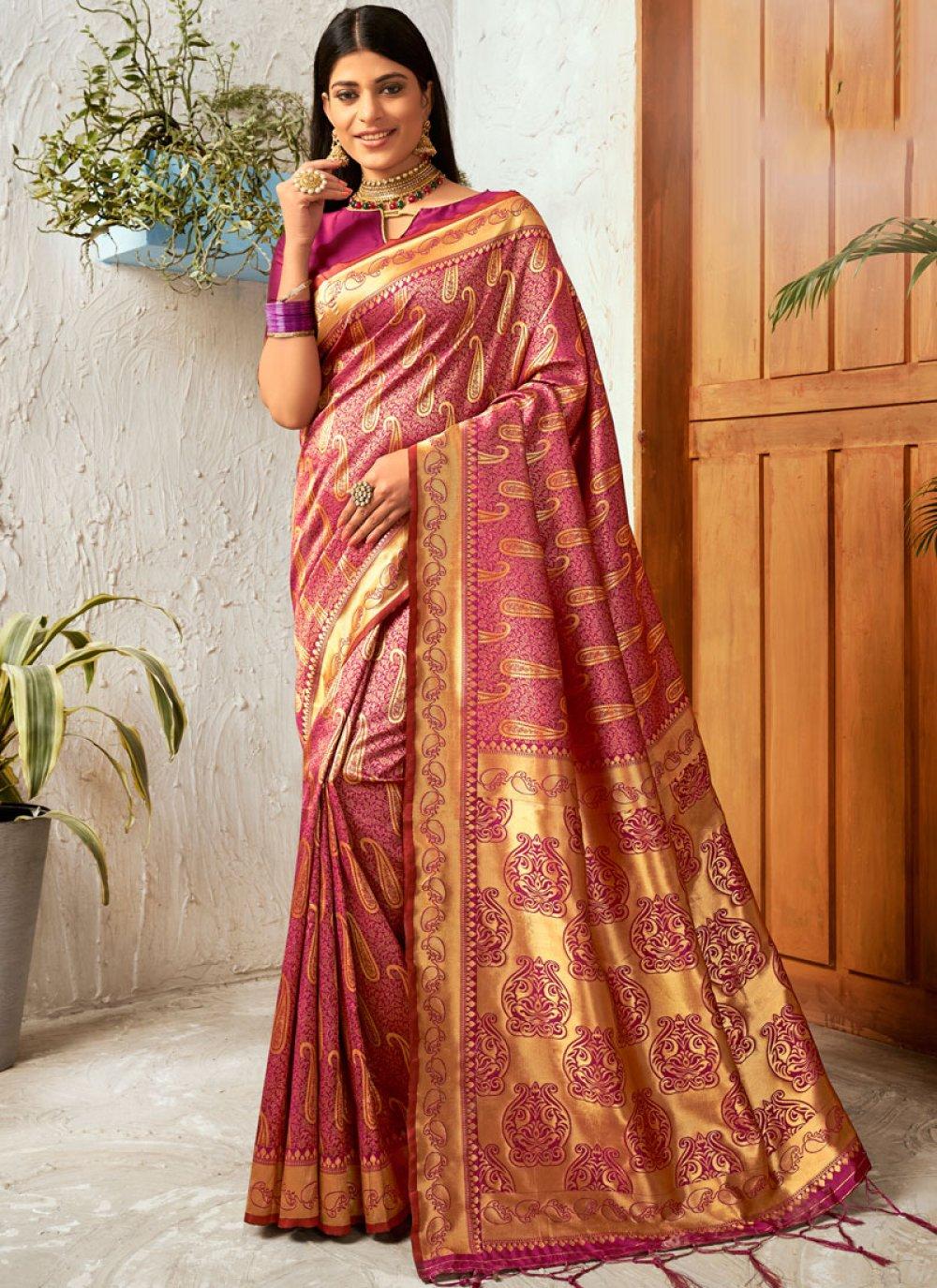 Gold and Pink Silk Trendy Saree