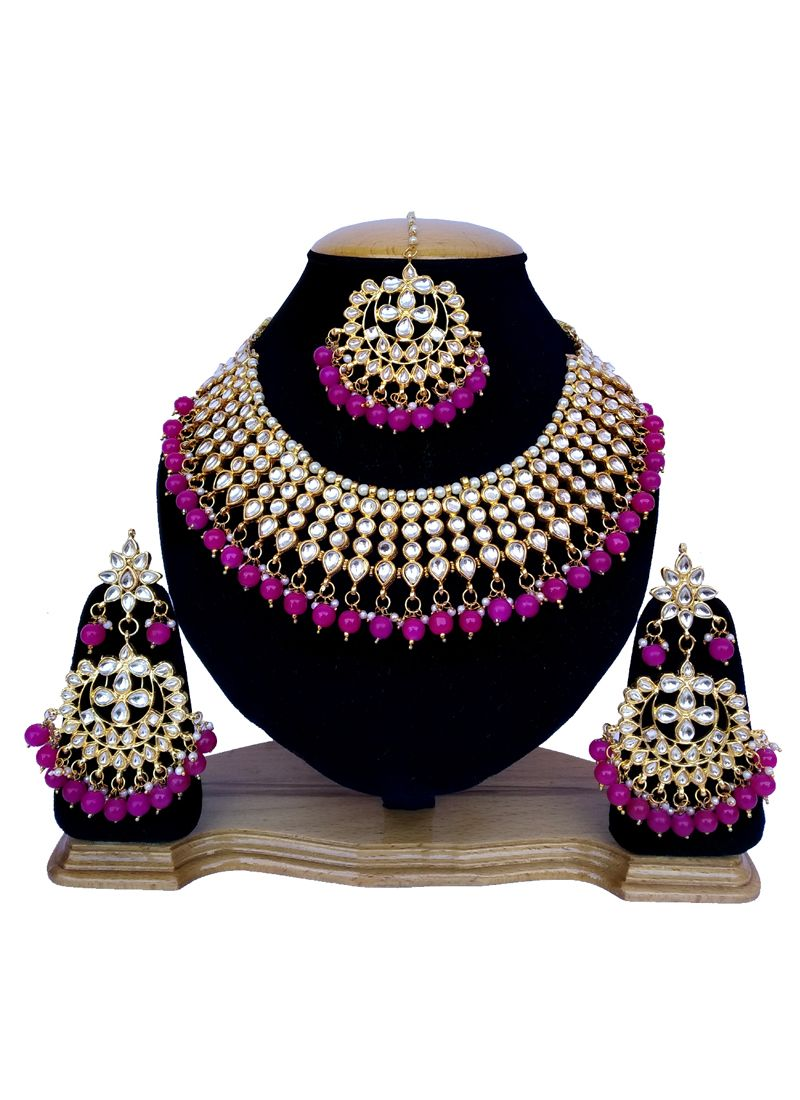 Gold and Rani Stone Work Reception Necklace Set