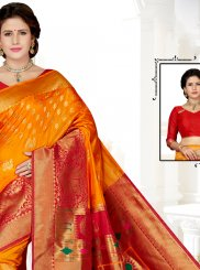 Gold and Red Art Silk Traditional Saree