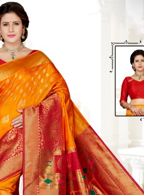 Yellow and Red Art Silk Traditional Saree