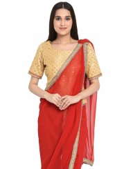 Gold and Red Mehndi Readymade Salwar Kameez