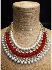 Gold and Red Stone Work Necklace Set