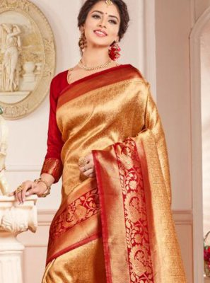 Gold and Red Weaving Trendy Saree