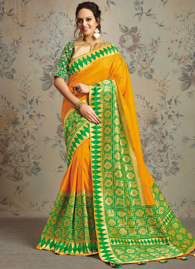 Gold and Yellow Sangeet Designer Saree