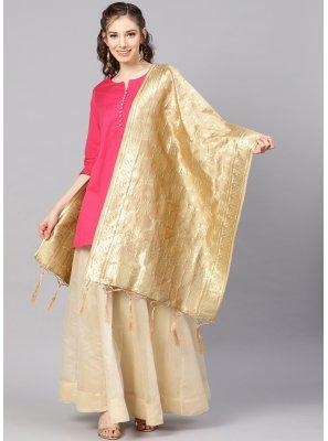 Gold Art Banarasi Silk Designer Dupatta