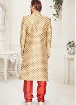 Gold Art Banarasi Silk Handwork Sherwani