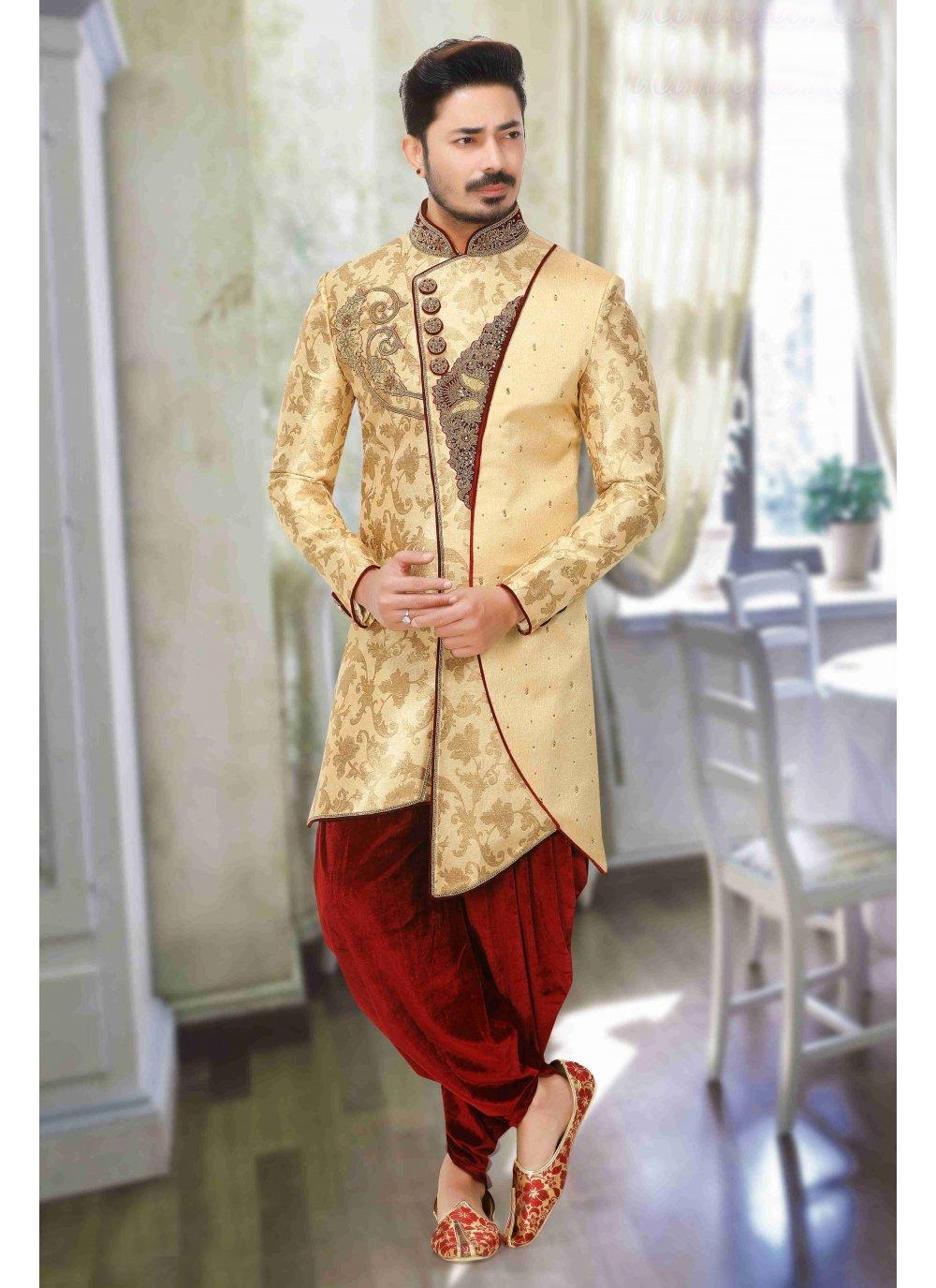Gold Art Dupion Silk Indo Western Sherwani
