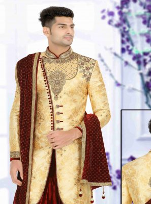 Gold Art Dupion Silk Wedding Indo Western Sherwani