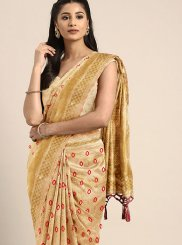 Gold Art Silk Festival Traditional Saree