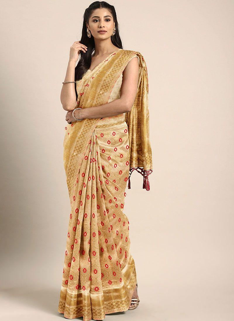 Gold Art Silk Festival Traditional Saree