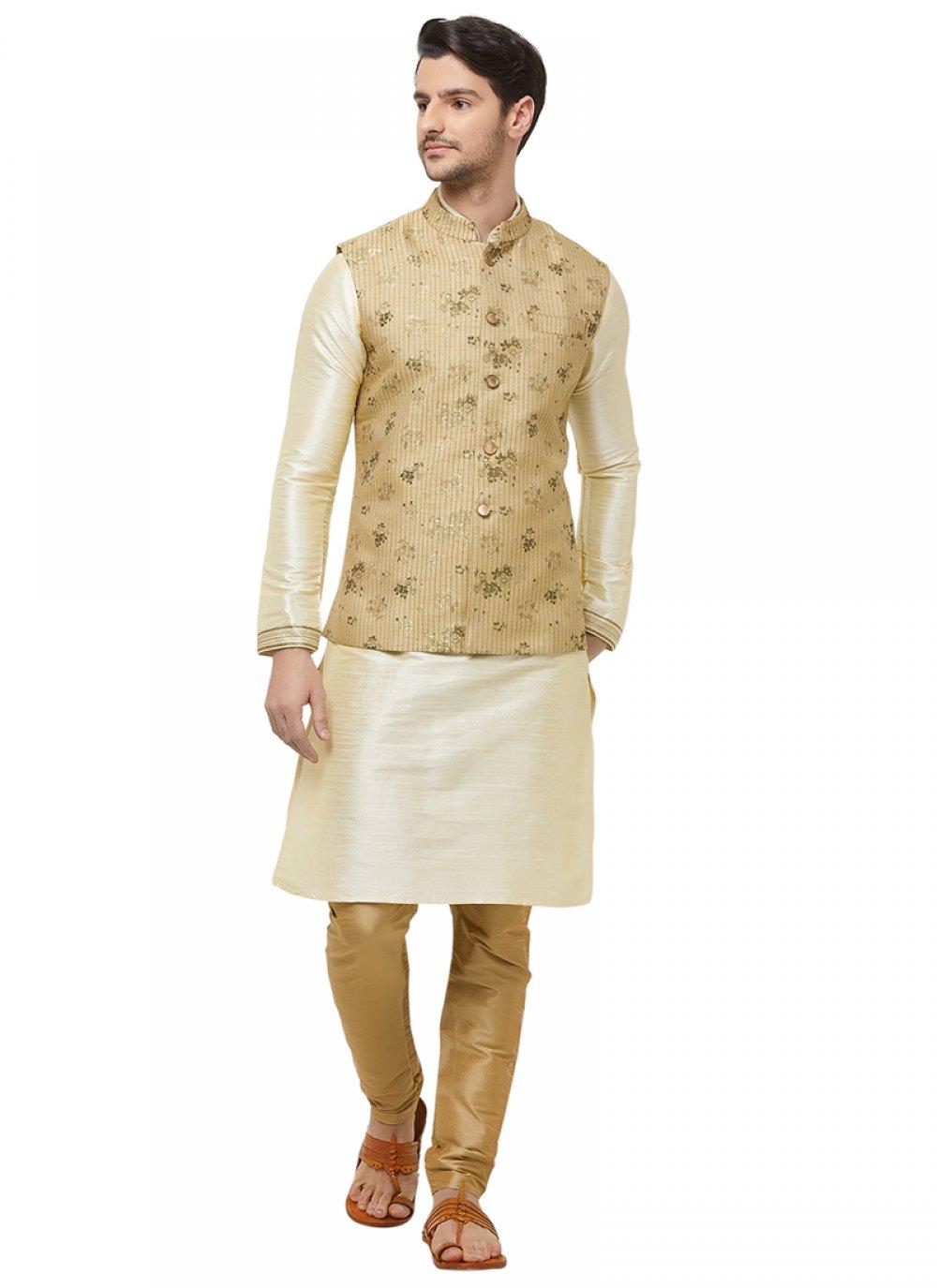 Gold Art Silk Nehru Jackets