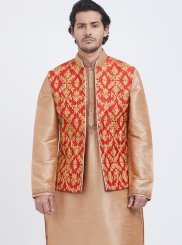 Gold Art Silk Plain Kurta Payjama With Jacket
