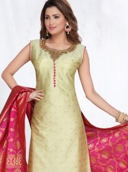 Gold Art Silk Readymade Suit
