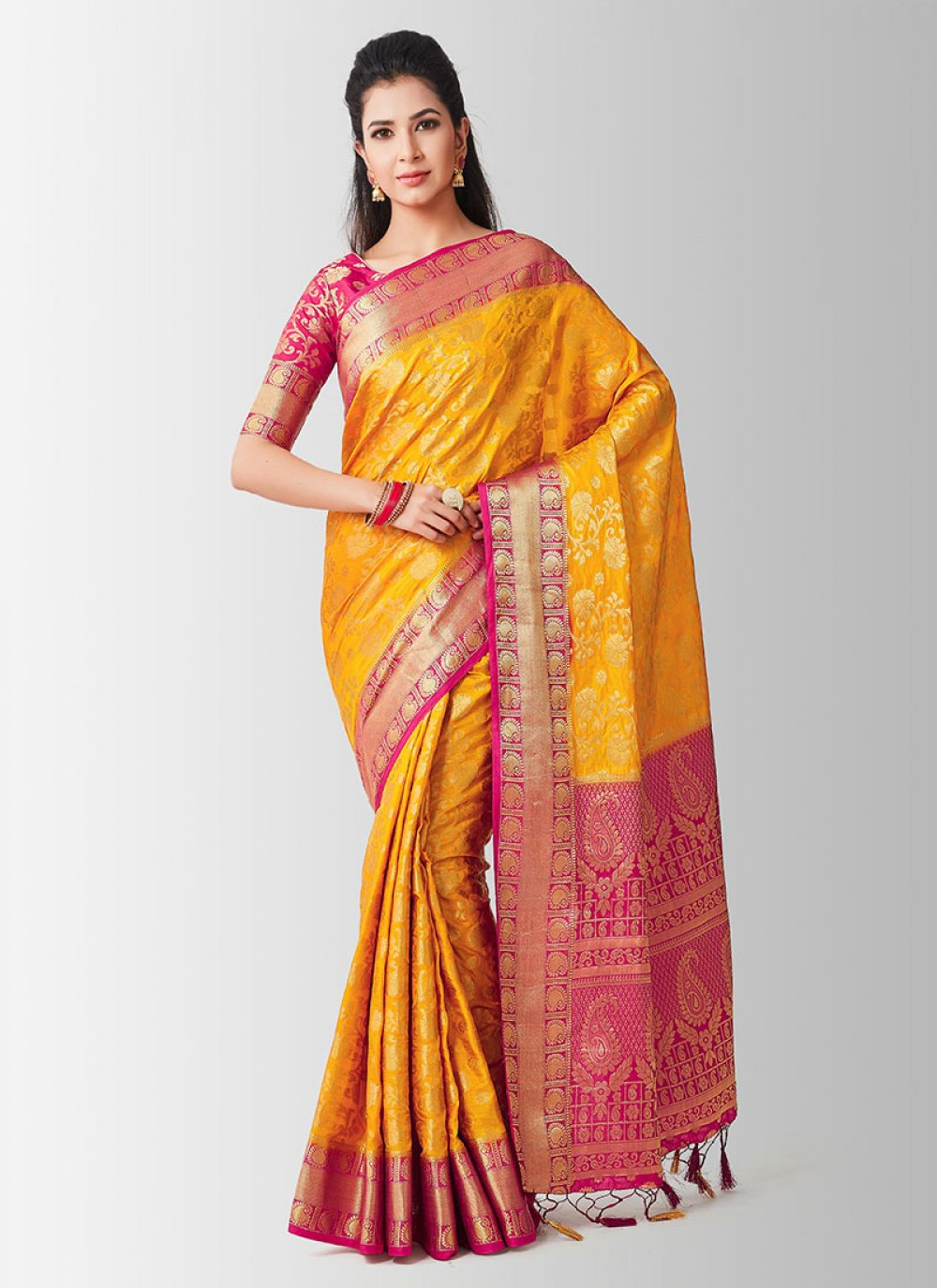 Yellow And Pink Art Silk Zari Designer Traditional Saree
