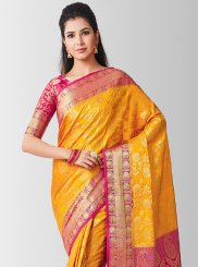 Gold Art Silk Zari Designer Traditional Saree