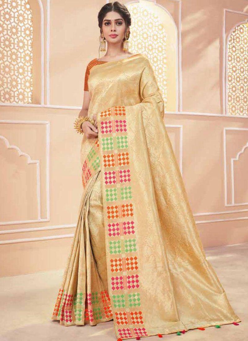 Gold Banarasi Silk Traditional Saree