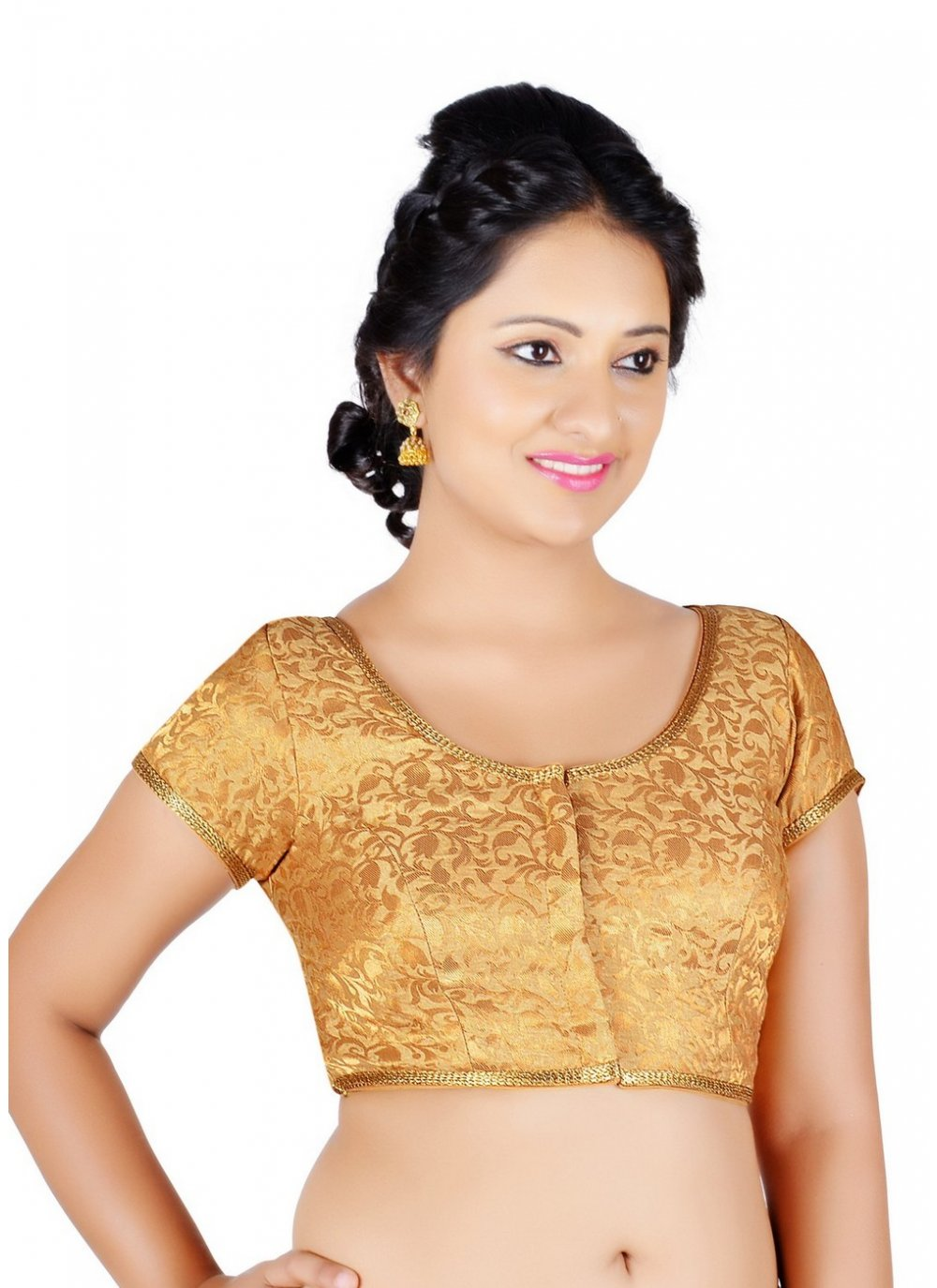 Gold Brocade Embroidered Designer Blouse