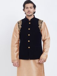 Gold Ceremonial Art Silk Kurta Payjama With Jacket