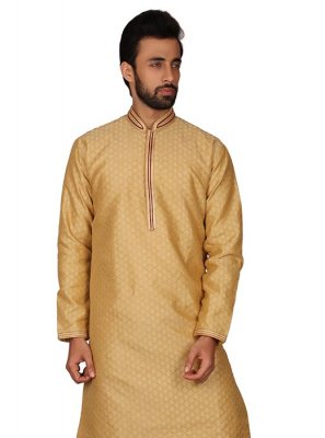 Gold Ceremonial Art Silk Kurta Pyjama