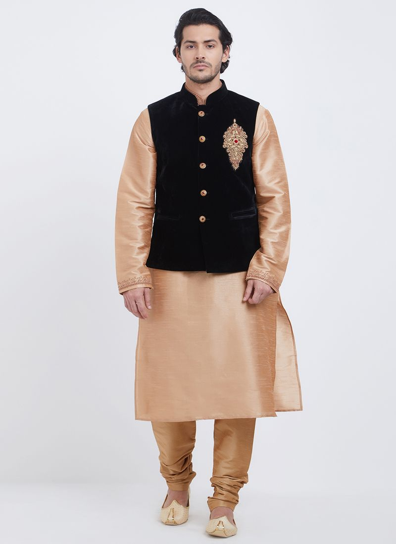 Gold Color Kurta Payjama With Jacket