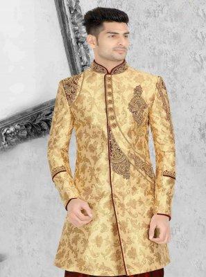 Gold Embroidered Art Dupion Silk Indo Western Sherwani