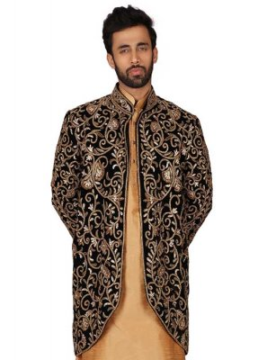 Gold Embroidered Art Silk Kurta Pyjama