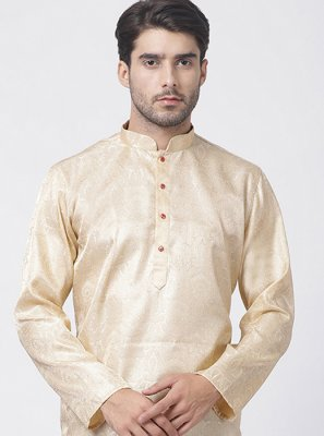Gold Embroidered Blended Cotton Kurta