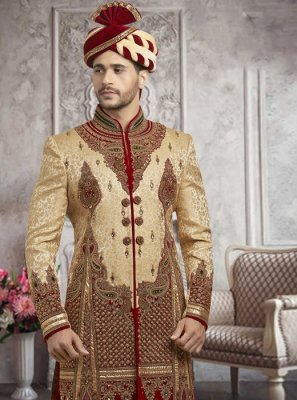 Gold Embroidered Ceremonial Sherwani