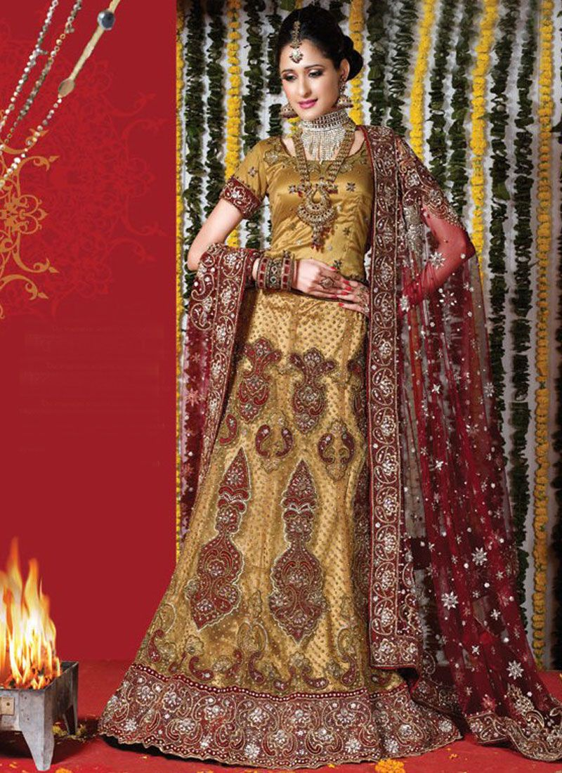 Gold Embroidered Net Lehenga Choli