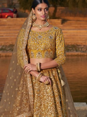 Gold Embroidered Silk Trendy Designer Lehenga Choli