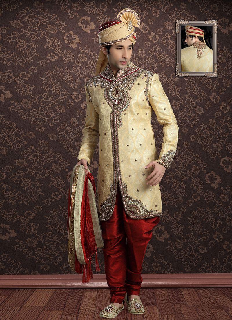 Gold Jacquard Embroidered Sherwani