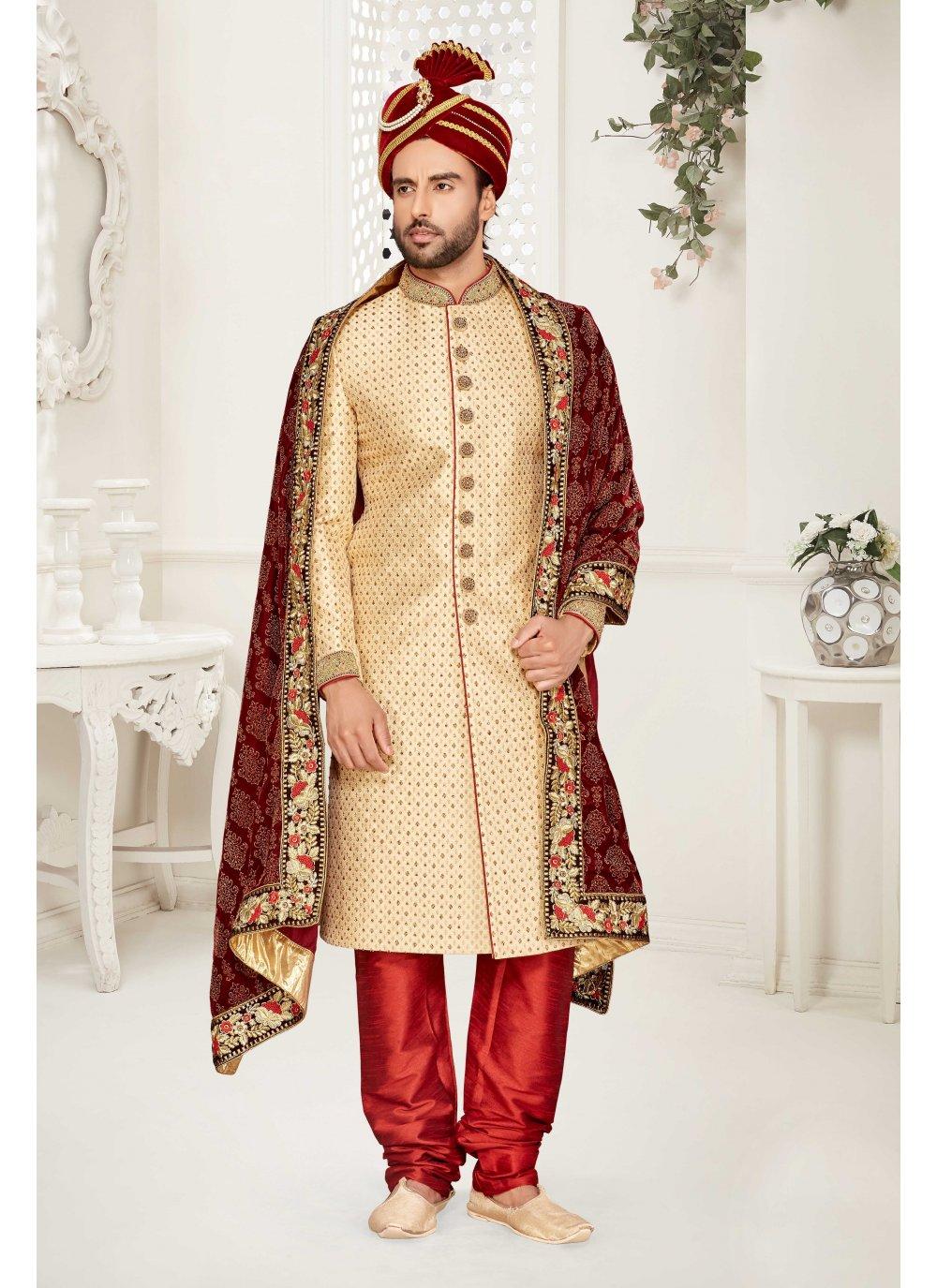 Gold Jacquard Sherwani