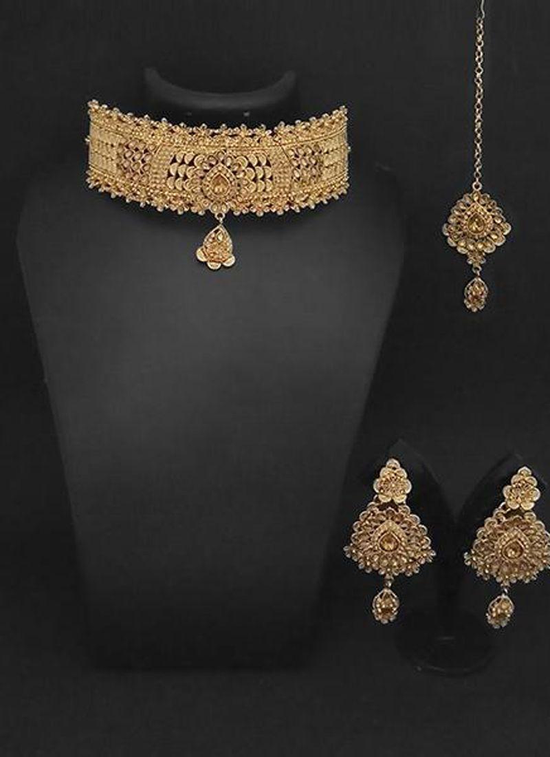 Gold Kundan Reception Necklace Set