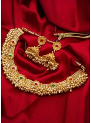 Gold Kundan Reception Necklace Set