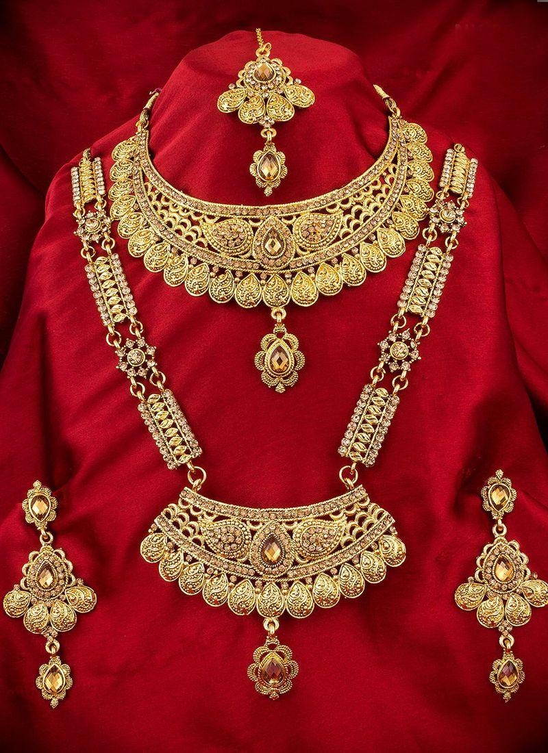 Buy Gold Kundan Wedding Necklace Set Online - Jewelry