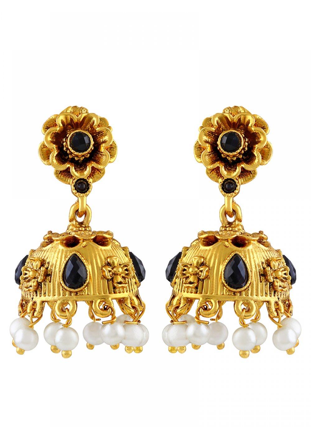 Gold Mehndi Ear Rings